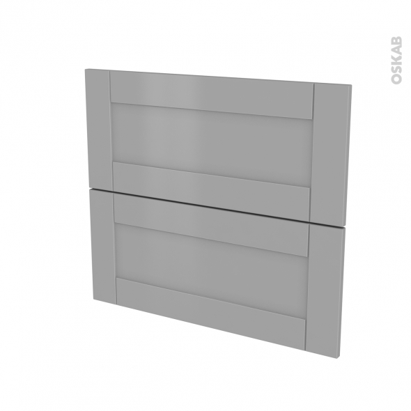 Façades de cuisine - 2 tiroirs N°60 - FILIPEN Gris - L80 x H70 cm