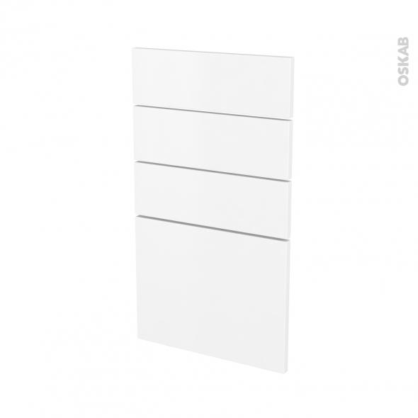 Façades de cuisine - 4 tiroirs N°53 - GINKO Blanc - L40 x H70 cm