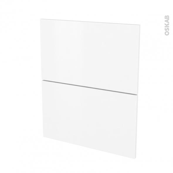 Façades de cuisine - 2 tiroirs N°57 - GINKO Blanc - L60 x H70 cm