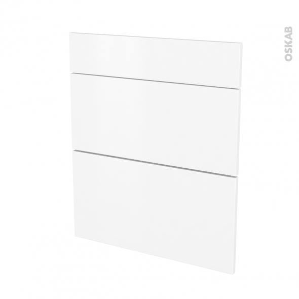 Façades de cuisine - 3 tiroirs N°58 - GINKO Blanc - L60 x H70 cm