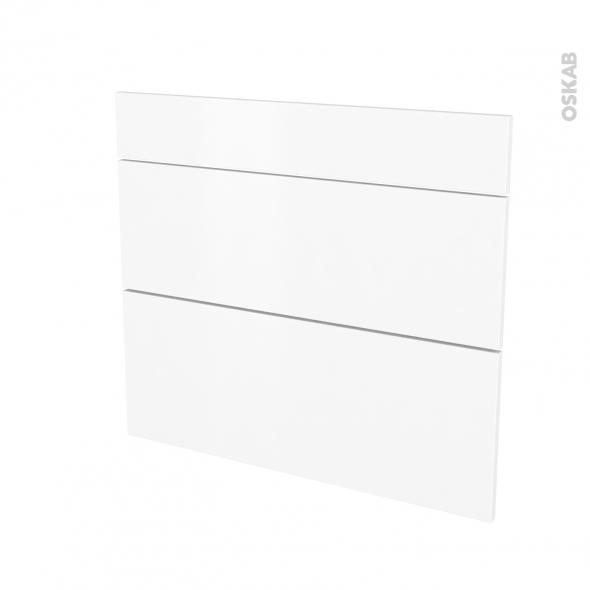 Façades de cuisine - 3 tiroirs N°74 - GINKO Blanc - L80 x H70 cm