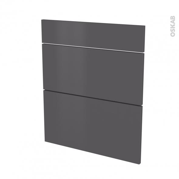 Façades de cuisine - 3 tiroirs N°58 - GINKO Gris - L60 x H70 cm