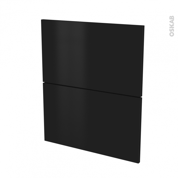 Façades de cuisine - 2 tiroirs N°57 - GINKO Noir - L60 x H70 cm