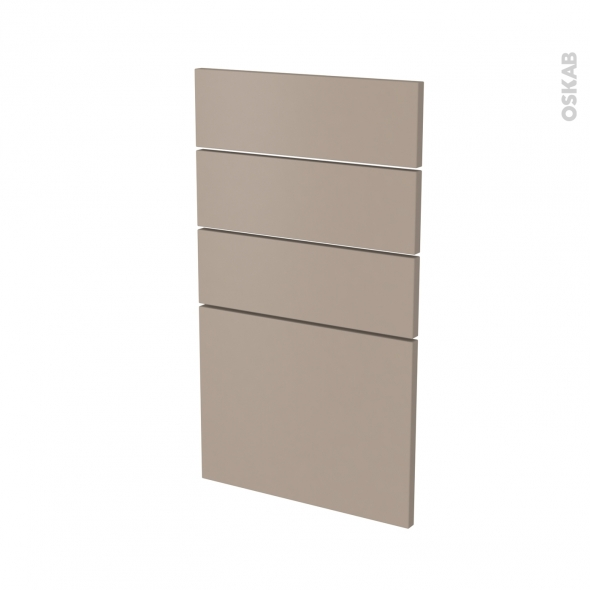 Façades de cuisine - 4 tiroirs N°53 - GINKO Taupe - L40 x H70 cm