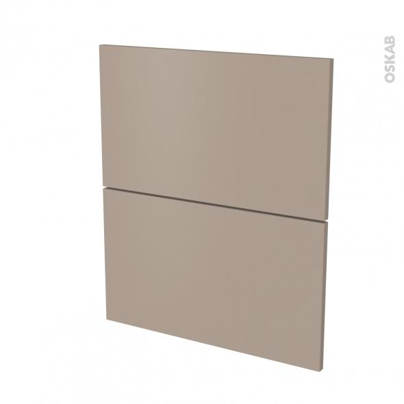 Façades de cuisine - 2 tiroirs N°57 - GINKO Taupe - L60 x H70 cm