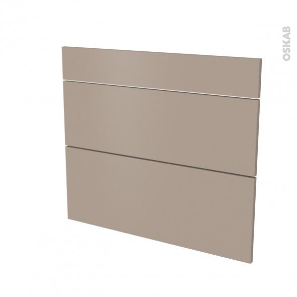 Façades de cuisine - 3 tiroirs N°74 - GINKO Taupe - L80 x H70 cm
