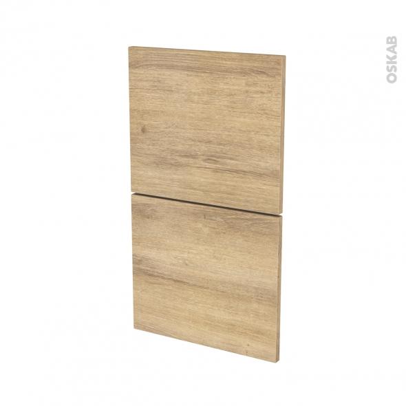 Façades de cuisine - 2 tiroirs N°52 - HOSTA Chêne naturel - L40 x H70 cm