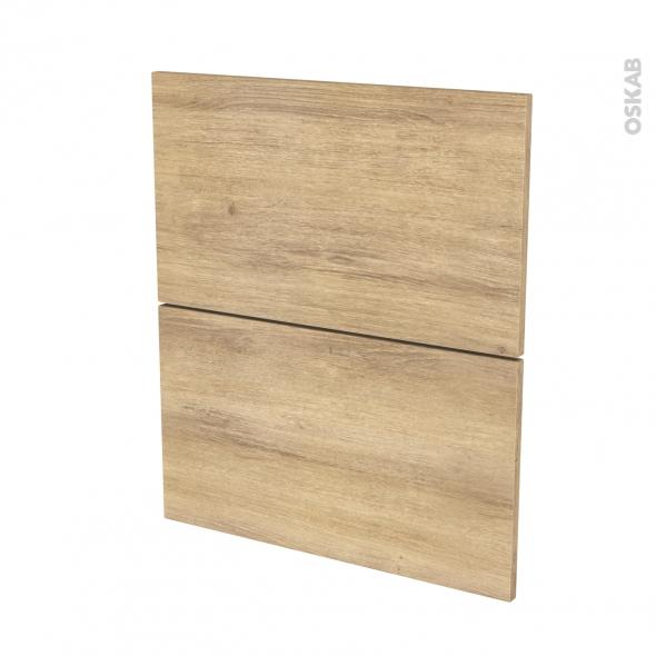 Façades de cuisine - 2 tiroirs N°57 - HOSTA Chêne naturel - L60 x H70 cm