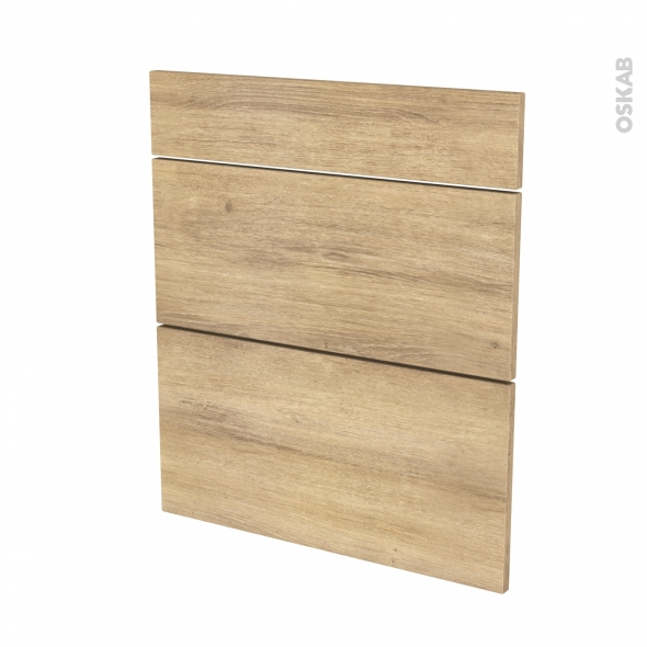 Façades de cuisine - 3 tiroirs N°58 - HOSTA Chêne naturel - L60 x H70 cm