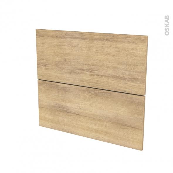 Façades de cuisine - 2 tiroirs N°60 - HOSTA Chêne naturel - L80 x H70 cm
