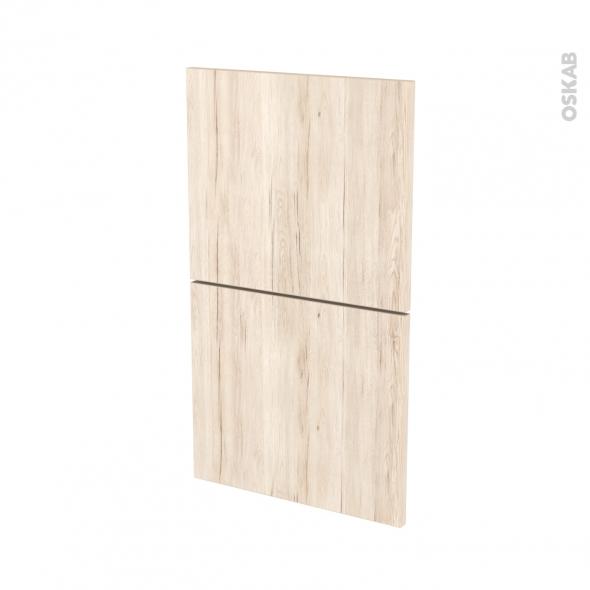 Façades de cuisine - 2 tiroirs N°52 - IKORO Chêne clair - L40 x H70 cm