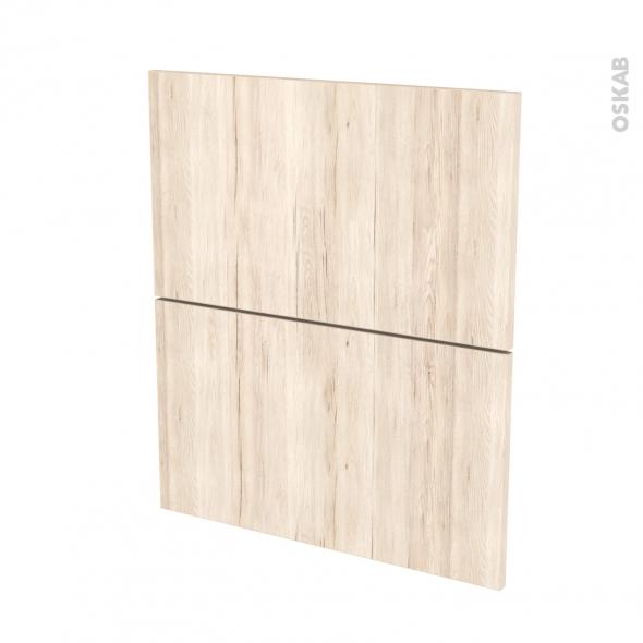 Façades de cuisine - 2 tiroirs N°57 - IKORO Chêne clair - L60 x H70 cm