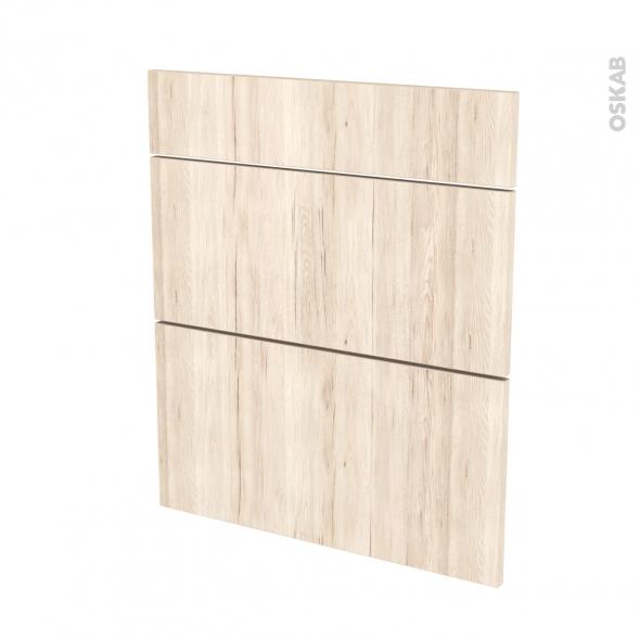 Façades de cuisine - 3 tiroirs N°58 - IKORO Chêne clair - L60 x H70 cm