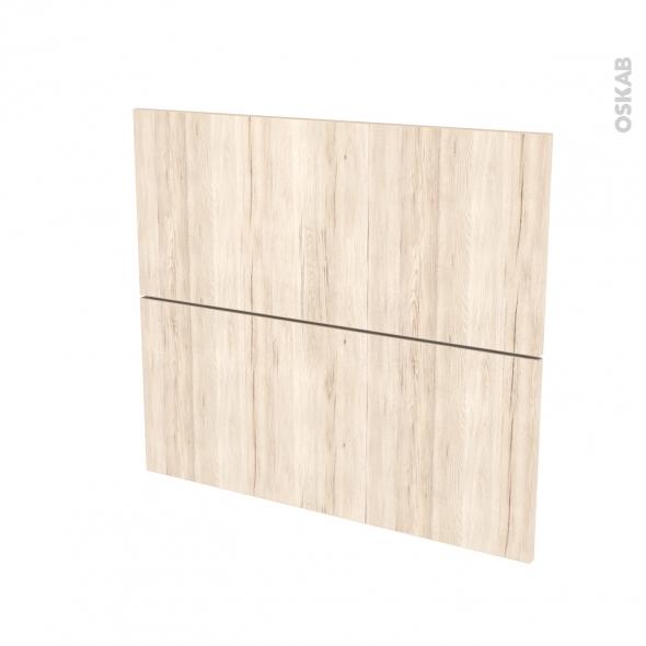 Façades de cuisine - 2 tiroirs N°60 - IKORO Chêne clair - L80 x H70 cm