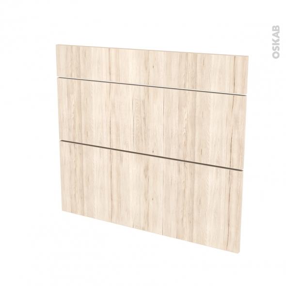 Façades de cuisine - 3 tiroirs N°74 - IKORO Chêne clair - L80 x H70 cm