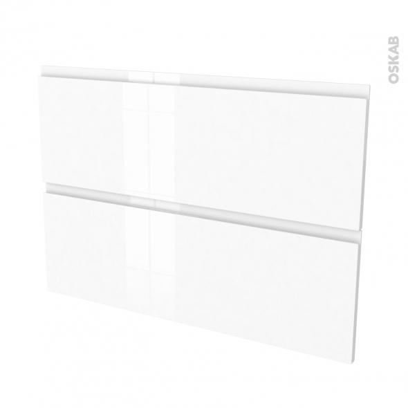 Façades de cuisine - 2 tiroirs N°61 - IPOMA Blanc brillant - L100 x H70 cm