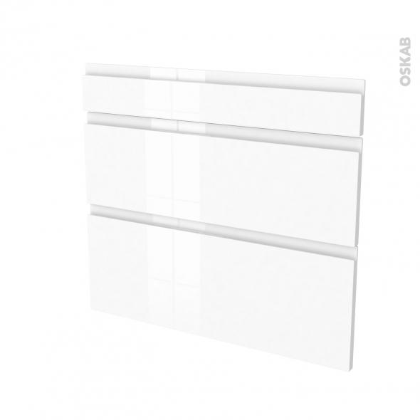 Façades de cuisine - 3 tiroirs N°74 - IPOMA Blanc brillant - L80 x H70 cm