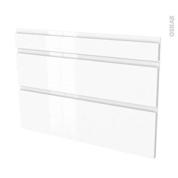 Façades de cuisine - 3 tiroirs N°75 - IPOMA Blanc brillant - L100 x H70 cm