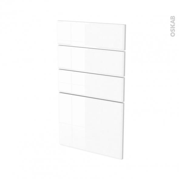 Façades de cuisine - 4 tiroirs N°53 - IRIS Blanc - L40 x H70 cm