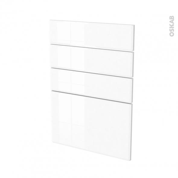 Façades de cuisine - 4 tiroirs N°55 - IRIS Blanc - L50 x H70 cm