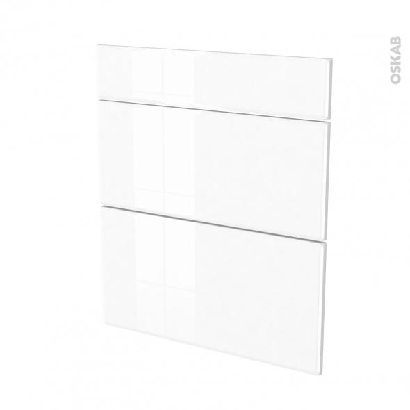 Façades de cuisine - 3 tiroirs N°58 - IRIS Blanc - L60 x H70 cm