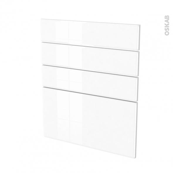 Façades de cuisine - 4 tiroirs N°59 - IRIS Blanc - L60 x H70 cm