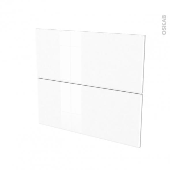 Façades de cuisine - 2 tiroirs N°60 - IRIS Blanc - L80 x H70 cm