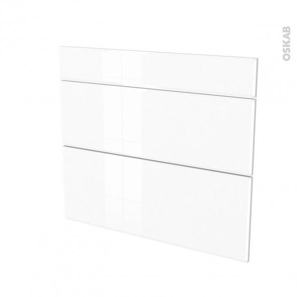 Façades de cuisine - 3 tiroirs N°74 - IRIS Blanc - L80 x H70 cm