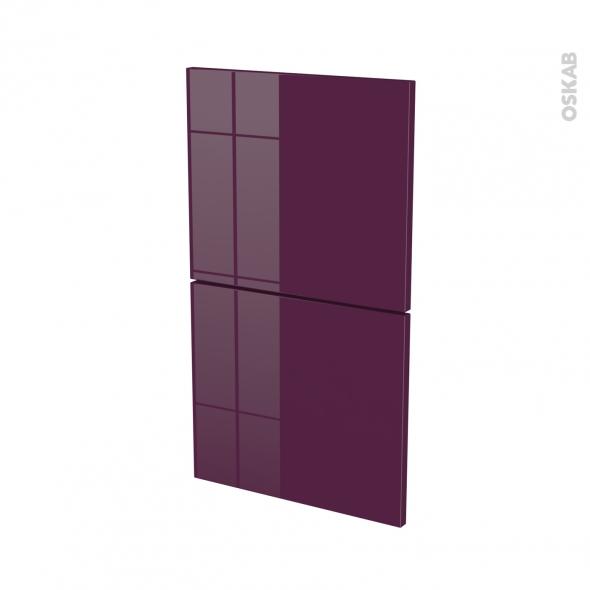 Façades de cuisine - 2 tiroirs N°52 - KERIA Aubergine - L40 x H70 cm