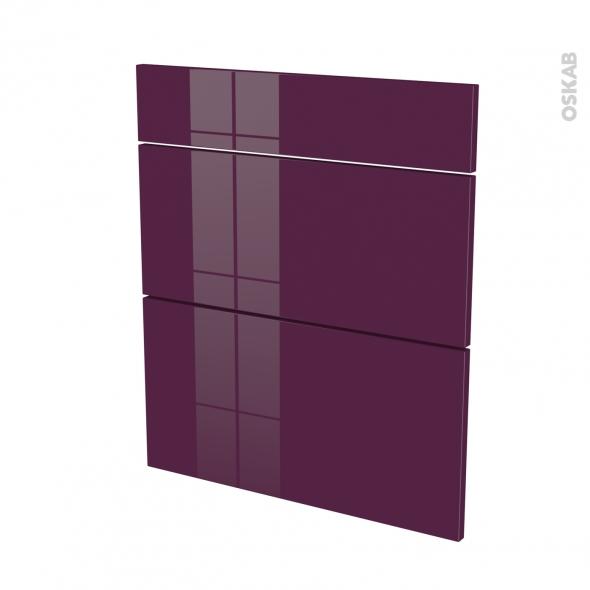 Façades de cuisine - 3 tiroirs N°58 - KERIA Aubergine - L60 x H70 cm