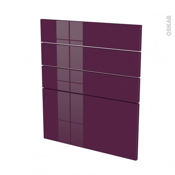 Façades de cuisine - 4 tiroirs N°59 - KERIA Aubergine - L60 x H70 cm