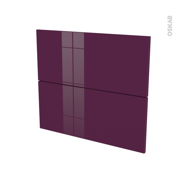 Façades de cuisine - 2 tiroirs N°60 - KERIA Aubergine - L80 x H70 cm