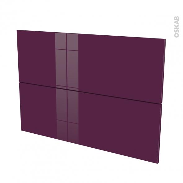 Façades de cuisine - 2 tiroirs N°61 - KERIA Aubergine - L100 x H70 cm