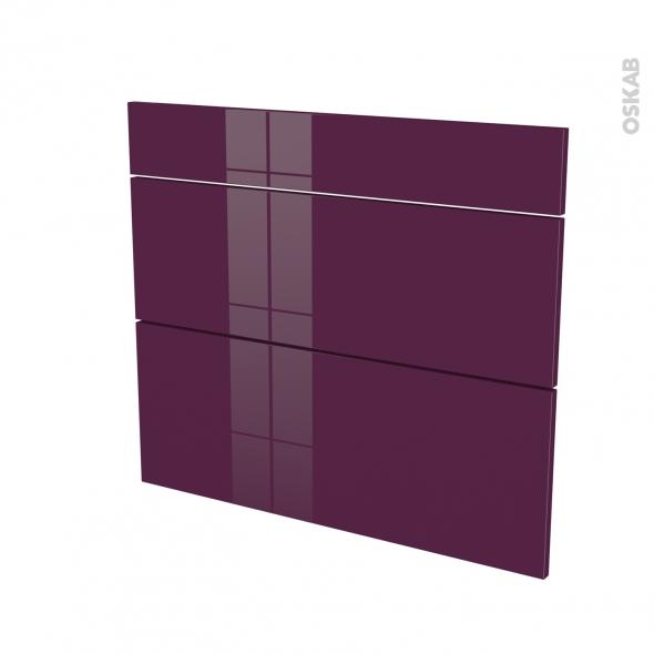 KERIA Aubergine - façade N°74 3 tiroirs - L80xH70