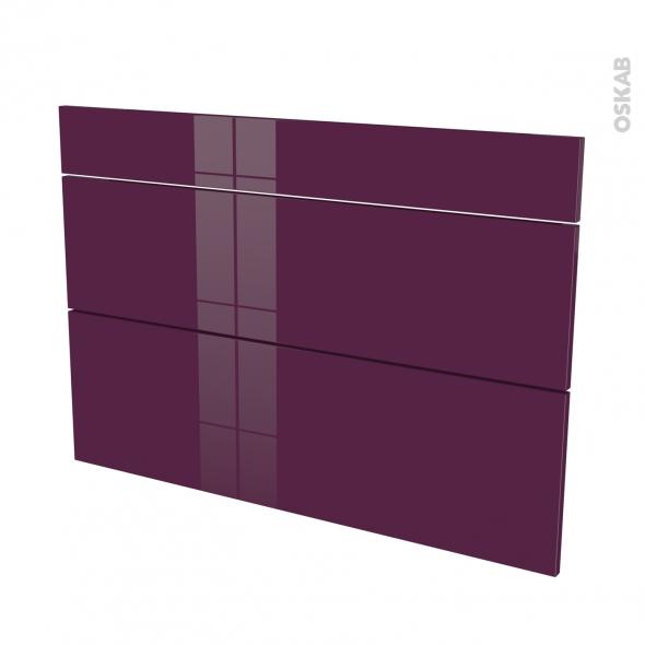KERIA Aubergine - façade N°75 3 tiroirs - L100xH70