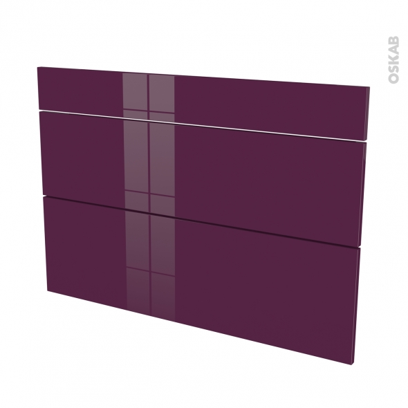 Façades de cuisine - 3 tiroirs N°75 - KERIA Aubergine - L100 x H70 cm