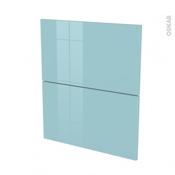 Façades de cuisine - 2 tiroirs N°57 - KERIA Bleu - L60 x H70 cm