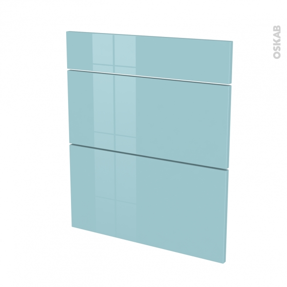 Façades de cuisine - 3 tiroirs N°58 - KERIA Bleu - L60 x H70 cm