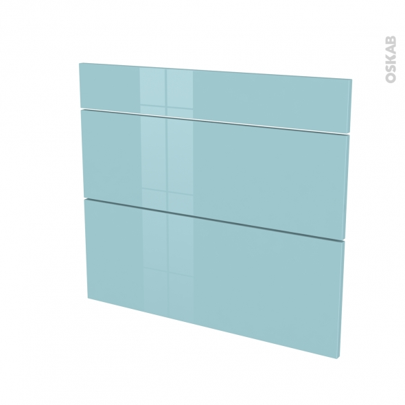 KERIA Bleu - façade N°74 3 tiroirs - L80xH70