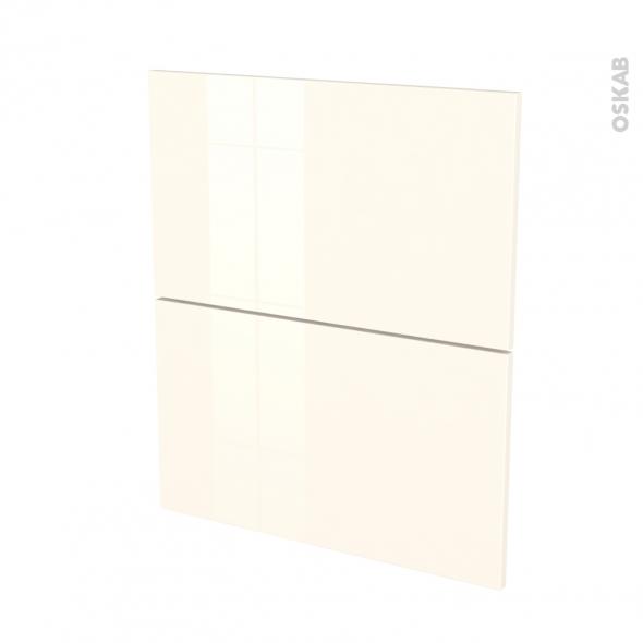Façades de cuisine - 2 tiroirs N°57 - KERIA Ivoire - L60 x H70 cm
