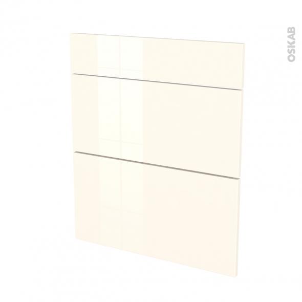 Façades de cuisine - 3 tiroirs N°58 - KERIA Ivoire - L60 x H70 cm