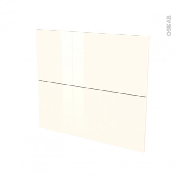 Façades de cuisine - 2 tiroirs N°60 - KERIA Ivoire - L80 x H70 cm
