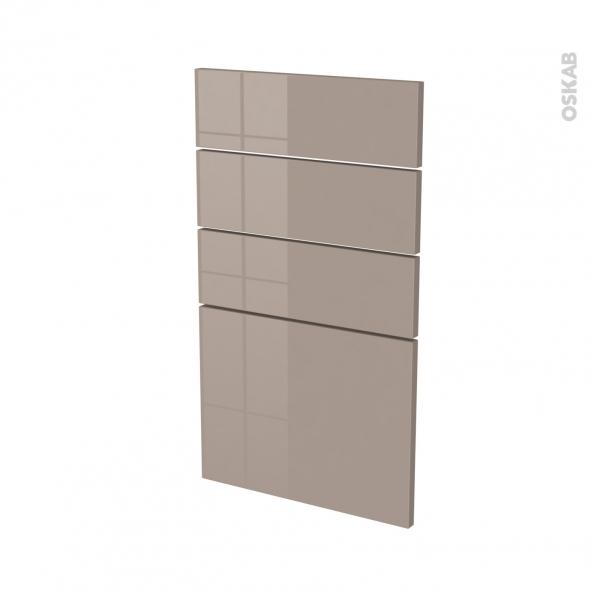 Façades de cuisine - 4 tiroirs N°53 - KERIA Moka - L40 x H70 cm