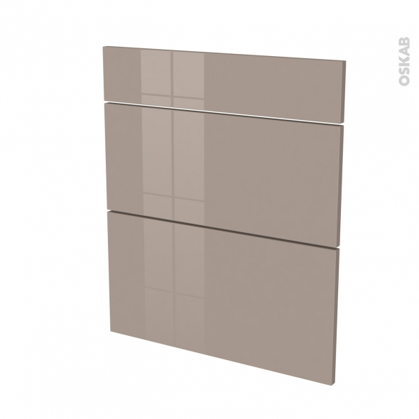 Façades de cuisine - 3 tiroirs N°58 - KERIA Moka - L60 x H70 cm