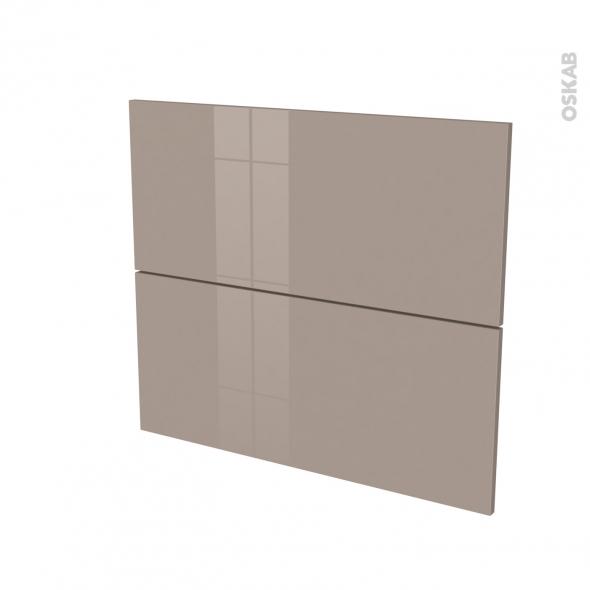 Façades de cuisine - 2 tiroirs N°60 - KERIA Moka - L80 x H70 cm