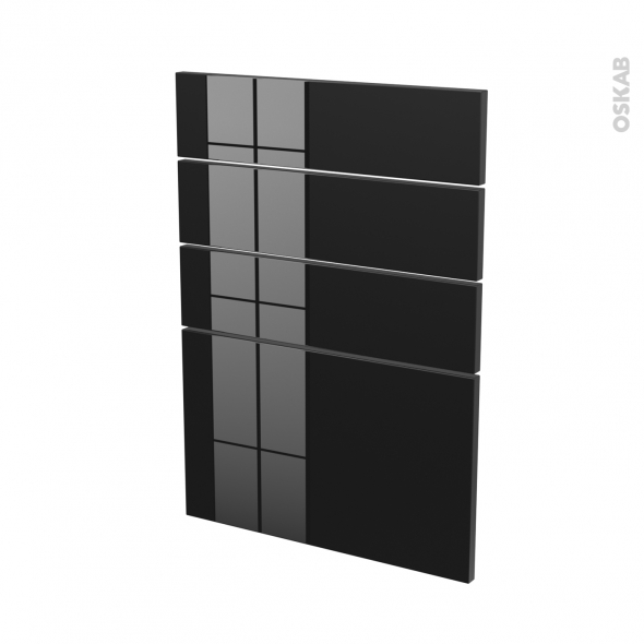 Façades de cuisine - 4 tiroirs N°55 - KERIA Noir - L50 x H70 cm