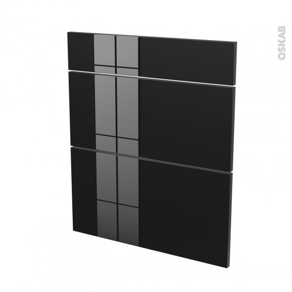 Façades de cuisine - 3 tiroirs N°58 - KERIA Noir - L60 x H70 cm