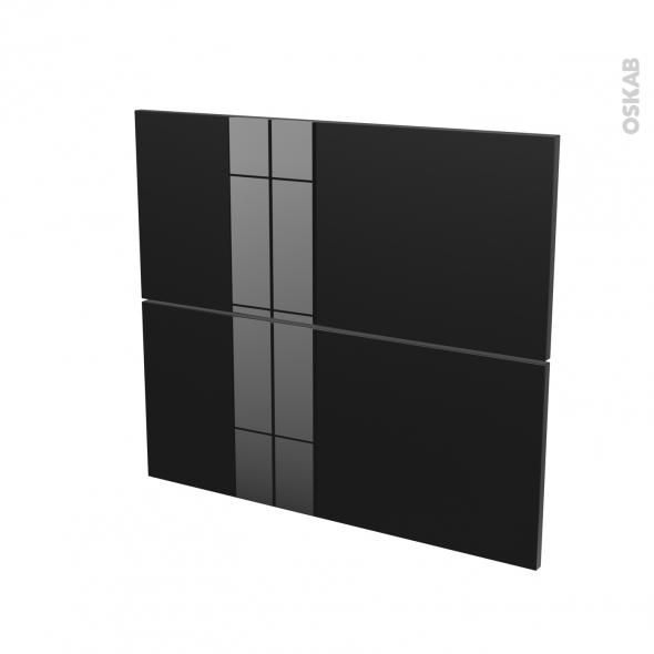 Façades de cuisine - 2 tiroirs N°60 - KERIA Noir - L80 x H70 cm