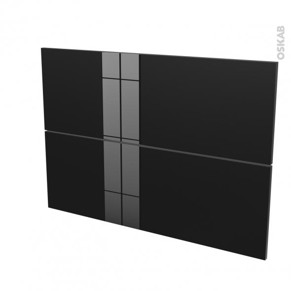 Façades de cuisine - 2 tiroirs N°61 - KERIA Noir - L100 x H70 cm