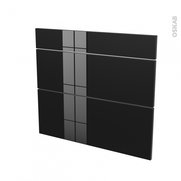 Façades de cuisine - 3 tiroirs N°74 - KERIA Noir - L80 x H70 cm